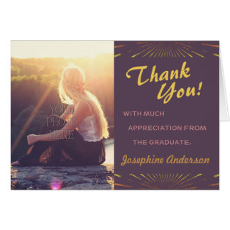 2016 Graduation Thank You Boho Chic Photo Pretty Greeting Card