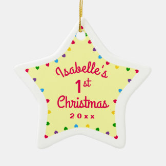 2016 Hearts Star 1st First Baby's Christmas Gift Ceramic Star Decoration