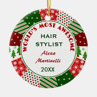 2016 Most Awesome Hair Stylist or Any Person Ceramic Ornament