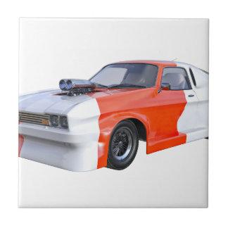 2016 Orange and White Muscle Car Ceramic Tile