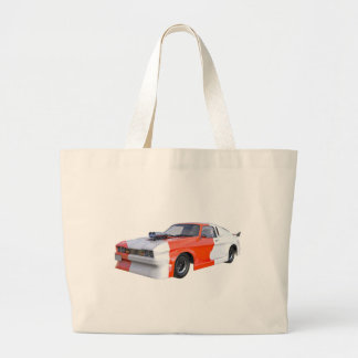 2016 Orange and White Muscle Car Large Tote Bag