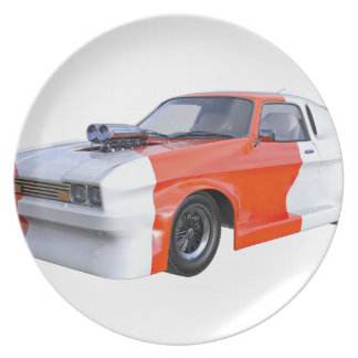 2016 Orange and White Muscle Car Plate