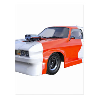 2016 Orange and White Muscle Car Postcard