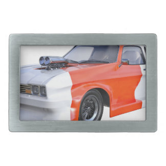 2016 Orange and White Muscle Car Rectangular Belt Buckle