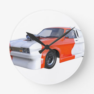 2016 Orange and White Muscle Car Round Clock