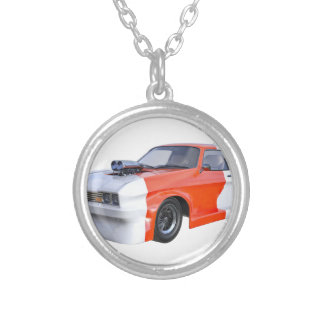 2016 Orange and White Muscle Car Silver Plated Necklace