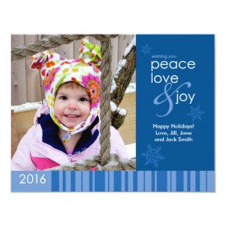 2016 Peace, Love & Joy Blue Holiday Photo Postcard 11 Cm X 14 Cm Invitation Card