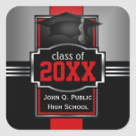 2016 Red Graduation Year and School Square Sticker