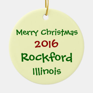 2016 ROCKFORD ILLINOIS MERRY CHRISTMAS ORNAMENT