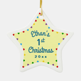 2016 Star Hearts 1st First Baby's Christmas Gift Ceramic Star Decoration