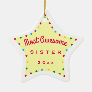 2016 Star Most Awesome Sister Christmas Gift Ceramic Star Decoration