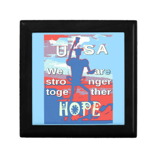 2016 USA Lovely Hillary Blue We Are Stronger Toget Small Square Gift Box
