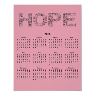 2016 Wall Calendar Breast Cancer Awareness Poster