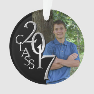 2017 Black and Silver Class Grad Photo Ornament