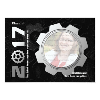 2017 Black and Silver Gear Graduation Invitation