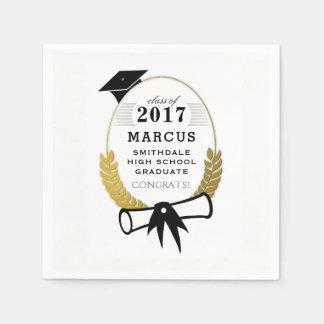 2017 Black Cap & Diploma Custom Graduation Napkins Paper Napkin