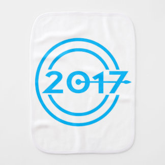2017 Blue Date Clock Burp Cloth