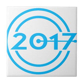 2017 Blue Date Clock Tile
