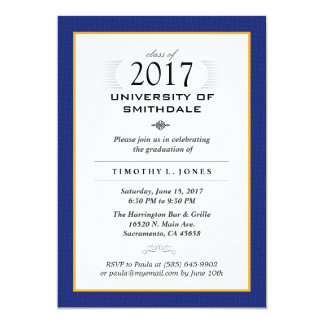2017 Blue & Gold Formal Graduation Party Invite