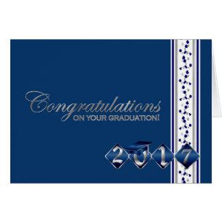 2017 Blue & Silver Graduation Congratulations Card
