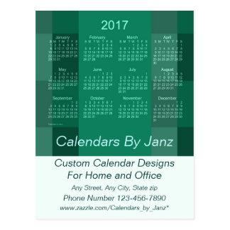 2017 Business Calendar Green Plaid Postcard