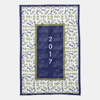 2017 Calendar Blueberries Kitchen Tea Towel
