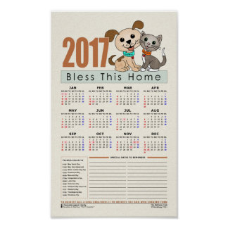 2017 Calendar [includes Blank lines for notes] Poster