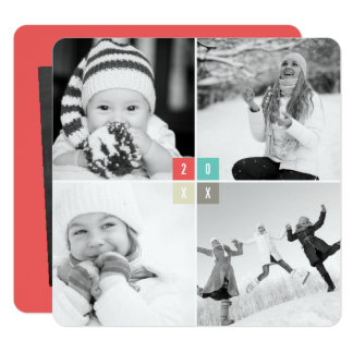 2017 Colour Blocks New Year Photo Collage Card