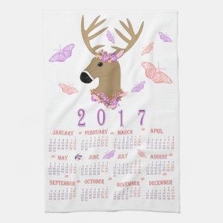2017 deer and butterflies tea towel