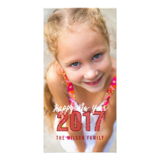 2017 Glitter | Happy New Year Holiday Photo Card