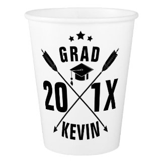 2017 Grad Hat Customizable Template Paper Cup