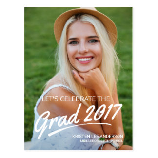 2017 Grad Party Brush Script Photo Invitation Postcard