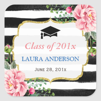 2017 Graduation Floral Black White Stripe Square Sticker