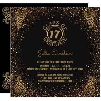 2017 Graduation Party   Black Elegant Gold Glitter Card
