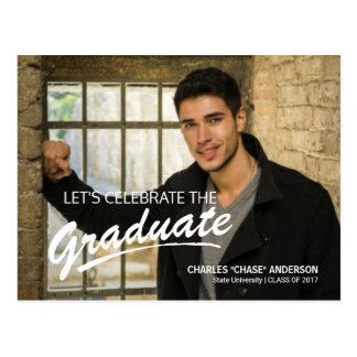 2017 Graduation Party Bold Brush Script Photo Postcard