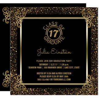 2017 Graduation Party   Elegant Black Gold Glitter Card