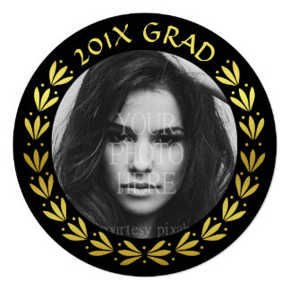 2017 Graduation Party Photo | Gold Laurel Wreath 13 Cm X 13 Cm Square Invitation Card