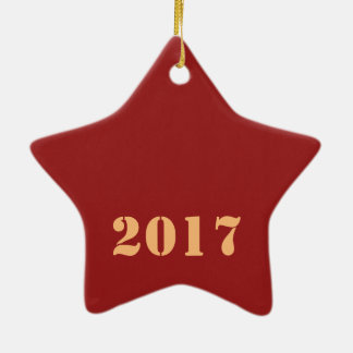 2017 Happy NEW YEAR Template editable text Ceramic Star Decoration