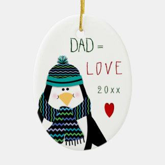 2017 Love DAD Penguin Christmas Gift Ceramic Ornament