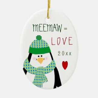 2017 Love Grandmom or Other Penguin Christmas Gift Ceramic Ornament