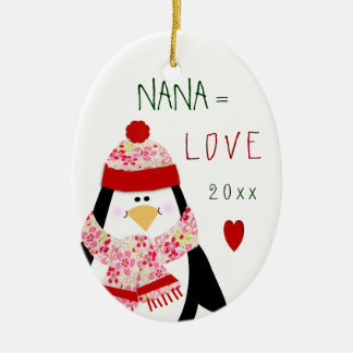 2017 Love NANA Penguin Christmas Gift Ceramic Ornament