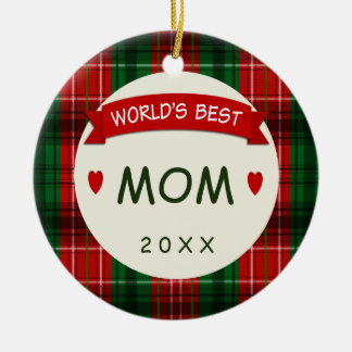 2017 Mom Holiday Plaid Christmas Gift Ornaments