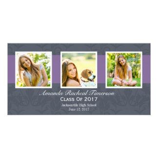 2017 Multi Photo Chic Purple Slate Graduation Picture Card