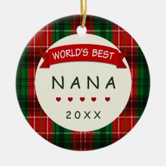 2017 Nana Holiday Plaid Christmas Gift Ornaments