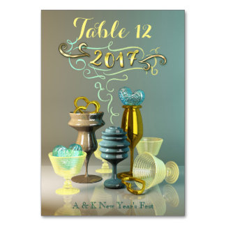 2017 New Year Stylish Gold Turquoise Party Glasses Table Card