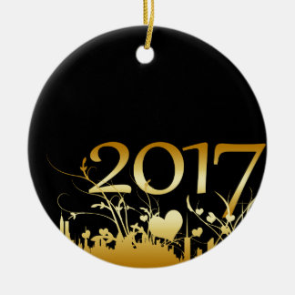 2017 New Year's Graphic Ceramic Ornament