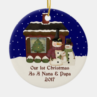 2017 Our 1st Christmas As A Nana And Papa Ceramic Ornament