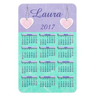 2017 Purple and Teal Mini Calendar Name Magnet