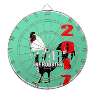 2017 Rooster Year in Green Circle dartboard