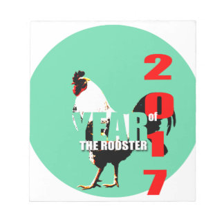 2017 Rooster Year in Green Circle notepad